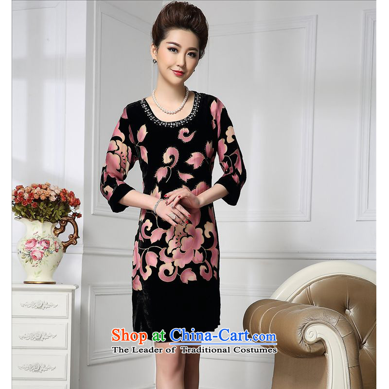 Forest narcissus spring and autumn 2015 Install new round-neck collar diamond 7 to the Tang dynasty cuff Silk Cheongsam with mother stitching sauna silk velvet dresses HGL-655 toner flower?XXL