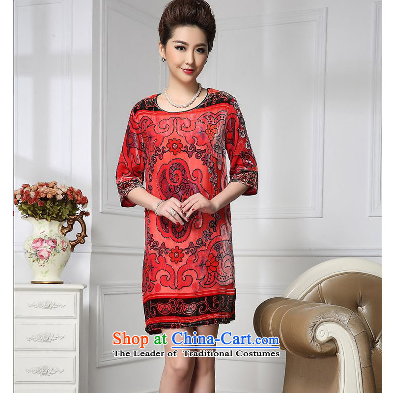 Forest narcissus spring and autumn 2015 Install new staple pattern pearl retro Tang Dynasty Silk Cheongsam with mother stitching sauna silk velvet dresses HGL-653 retro pattern XXXL