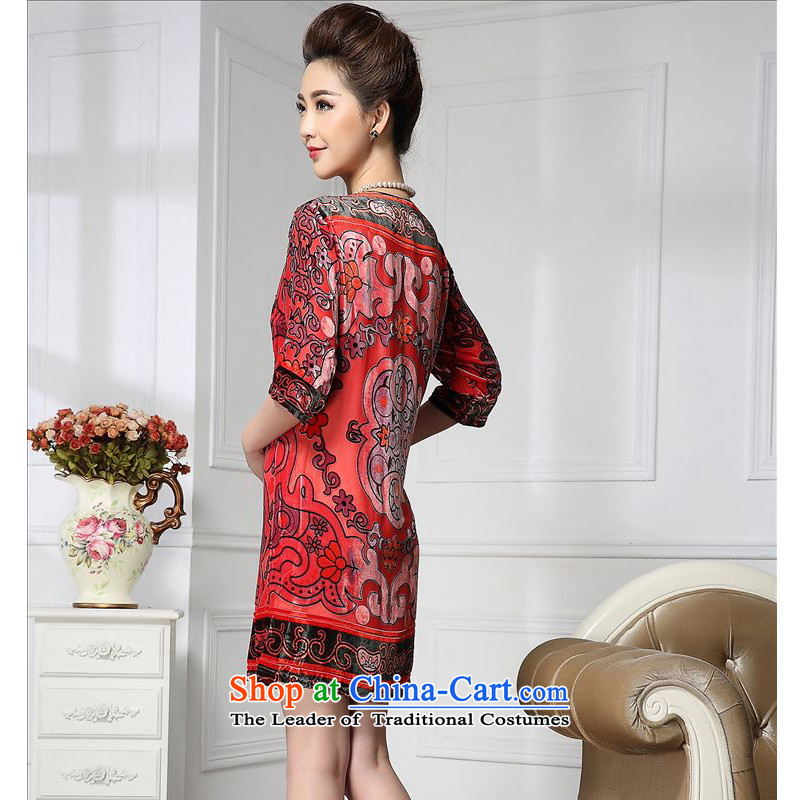Forest narcissus spring and autumn 2015 Install new staple pattern pearl retro Tang Dynasty Silk Cheongsam with mother stitching sauna silk velvet dresses HGL-653 retro pattern聽XXXL, forest (senlinshuixian narcissus) , , , shopping on the Internet
