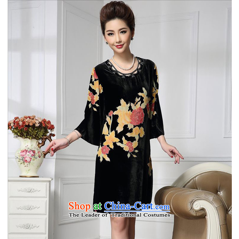 Forest narcissus spring and autumn 2015 install new champak wide sleeves Tang dynasty mother Silk Cheongsam with stitching herbs extract lint-free dresses HGL-651 CHAMPAK燲XL