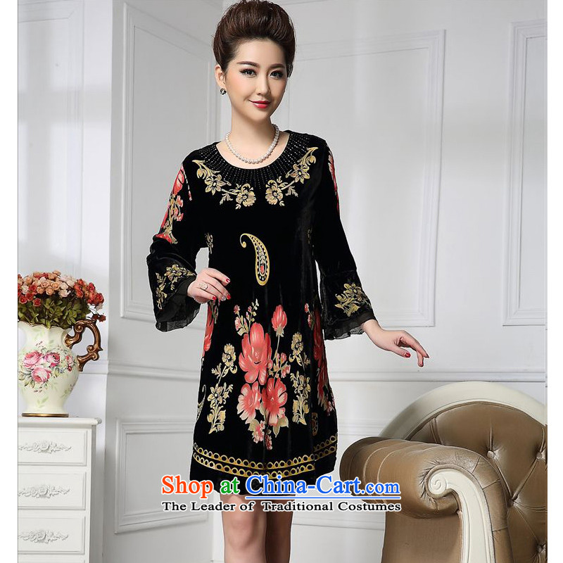 Forest narcissus spring and autumn 2015 Install new staple bead wide sleeves ��fuguihua Tang dynasty mother replacing qipao silk stitching sauna silk velvet dresses HGL-650 picture color?XXXL