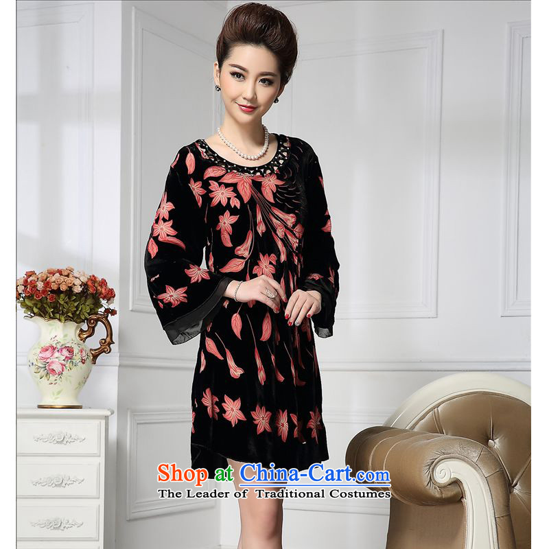 Forest narcissus spring and autumn 2015 install new wide sleeves nail pearl shatter Tang dynasty mother replacing qipao silk stitching sauna silk velvet dresses HGL-631 picture color?XXXL