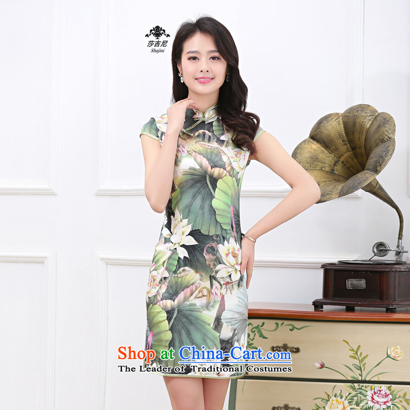 2015 Spring_Summer New Silk Cheongsam herbs extract retro-long high on the forklift truck cheongsam dress�35燣otus Pond燲XL