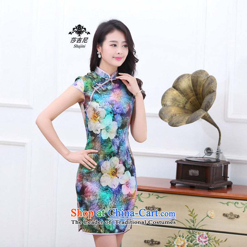 Qipao New 2015 Spring/Summer retro short-sleeved improved stylish herbs extract silk cheongsam dress of color to Seven Colored 1536 M