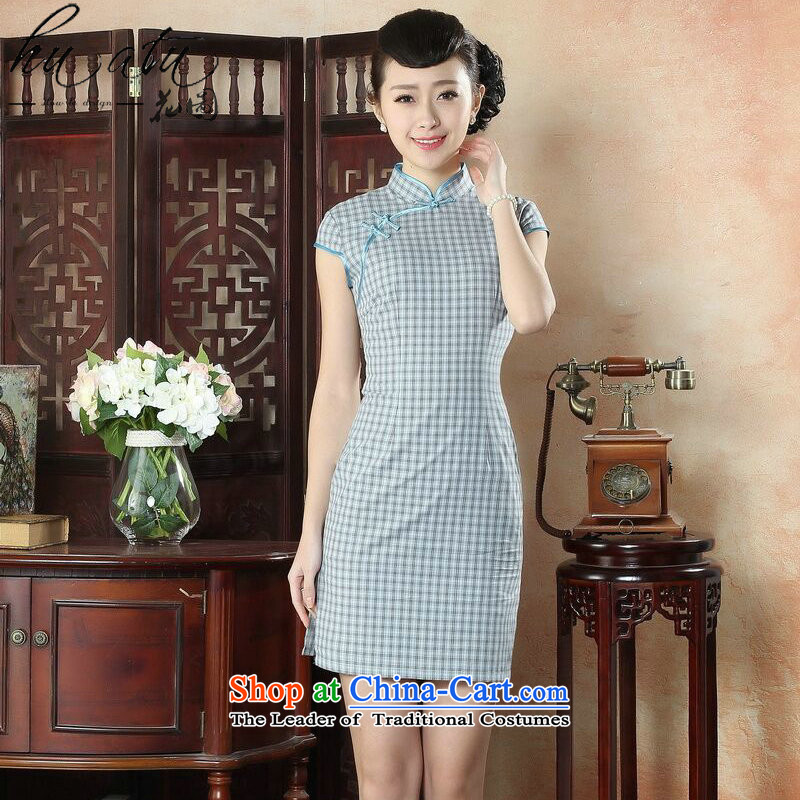 Figure for summer flowers new cheongsam Tang Dynasty Chinese Women's improved retro cotton linen dresses skirt temperament of the Republic of Korea the figure color grid qipao?XL