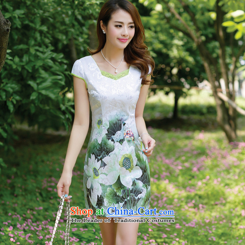2015 Women's new National wind Tang dynasty half sleeve Chinese ink stamp water retro look like video thin package     and green lotus skirt qipao�L