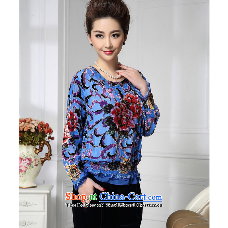Forest narcissus spring and autumn 2015 install new lanterns lace loose Tang dynasty mother replacing qipao silk stitching herbs extract lint-free t-shirt HGL-493?XXXL blue