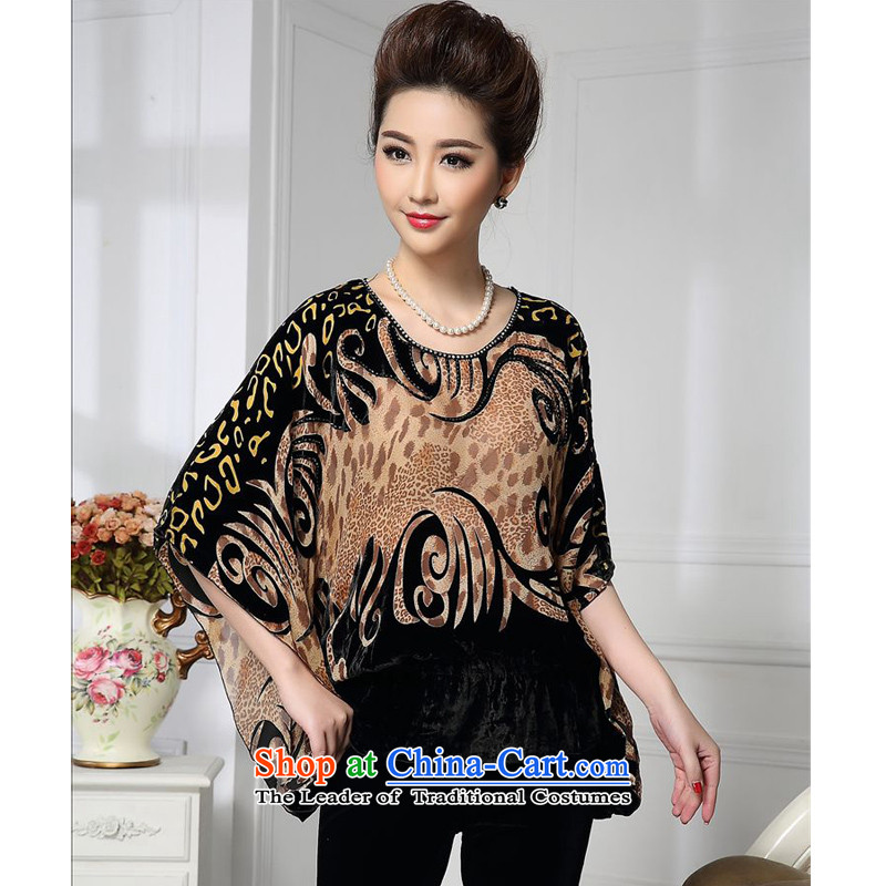 Forest narcissus spring and autumn 2015 install new bat sleeves Leopard install MOM Tang dynasty qipao silk stitching herbs extract lint-free t-shirt HGL-492 KHAKI?XXL