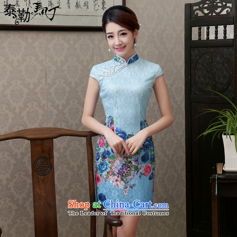 Taylor Martin Taylor Martin 2015 ice blue stamp composite lace short qipao summer retro improved cheongsam dress elegance Sau San Ice Blue聽XL