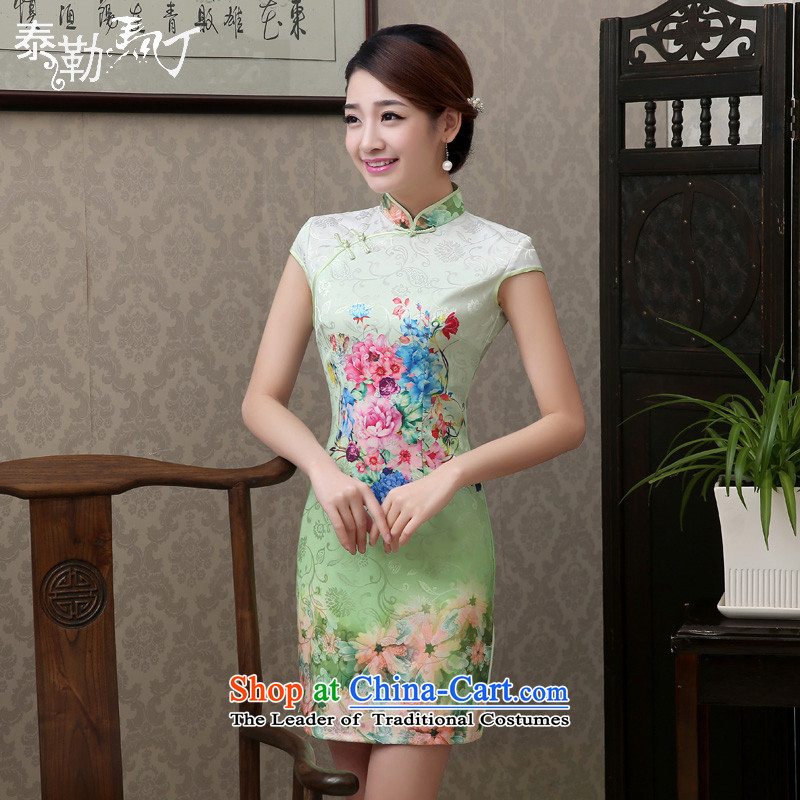 The spring and summer of 2015, Martin Taylor new ice green stamp then qipao short-sleeved improved stylish cheongsam dress small fresh Sau San temperament green聽S