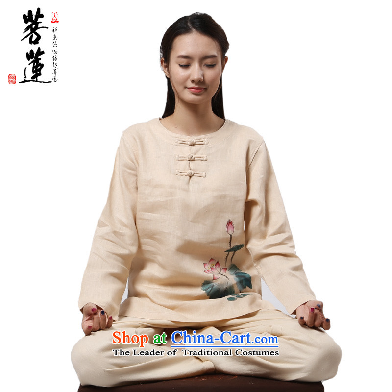 Of Tang dynasty linen plain Lin round-neck collar China wind meditation ball yoga clothing_women's meditation pad service exercise clothing beige painted, cherry聽L