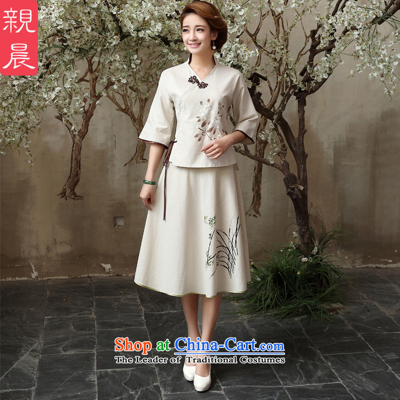 At 2015 new pro-summer and fall inside the reconstructed in the ordinary course of improved cotton linen, Ms. long skirt shirt shirt + cheongsam dress?L