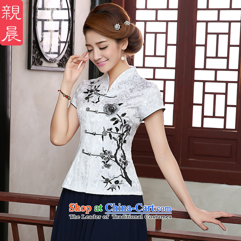 The pro-am 2015 daily new summer retro ethnic two kits improved stylish cotton linen clothes shirt?M female Cheongsam
