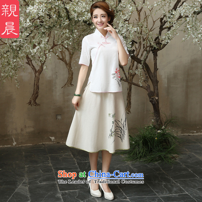 At 2015 new pro-summer retro improved stylish short of daily cotton linen flax Ms. qipao shirt Shirt   + skirts M