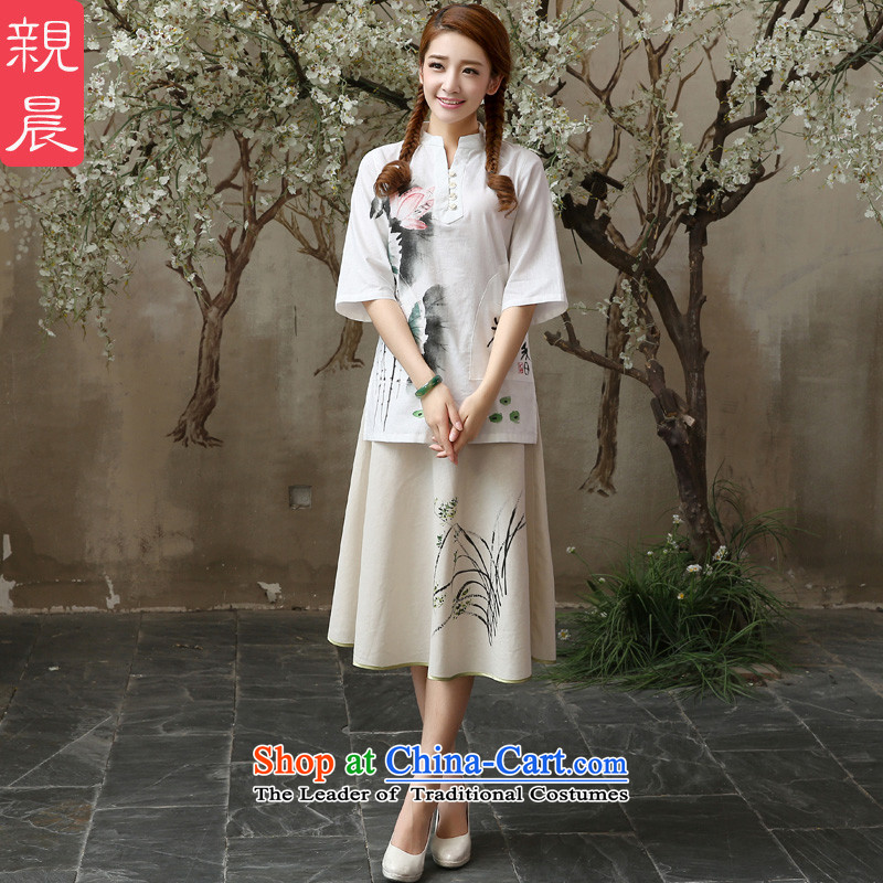 At 2015 new pro-autumn day-to-day summer retro improved national wind short of stylish linen cotton linen clothes shirt + skirts of Qipao M