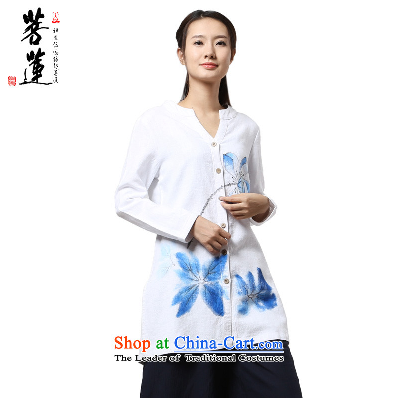 On Lin cotton linen ramie womens long-sleeved leisure retreat hand-painted Yi China wind yoga meditation ball meditation tai chi services white painted green lotus S