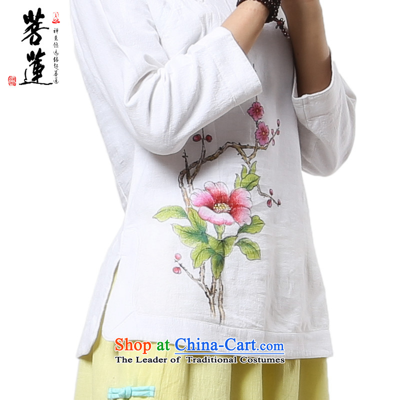 On Lin Yi cotton linen retreat Tang dynasty women in Nepal clothing/fabric of ramie cotton painting China wind zen yoga tea service white painted horn, L, pursue Wu , , , shopping on the Internet