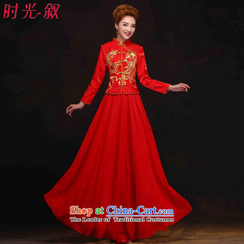 The Syrian-soo wo service hour Red Chinese qipao gown of nostalgia for the bridal dresses wedding longfeng bows to use the new 2015 Autumn bows services suits red S Cheongsam