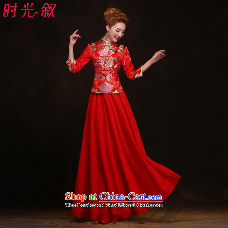Miss Cyd Wo Service Time Syrian brides red Chinese qipao gown of nostalgia for the bridal dresses and Phoenix use red bows�S