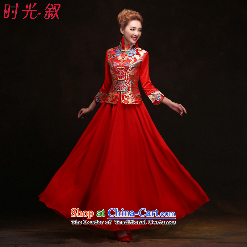 Miss Cyd Wo Service Time Syrian brides red Chinese qipao gown of nostalgia for the bridal dresses and Phoenix use new drink, Red聽XXL
