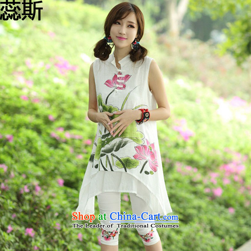 The 2015 summer Yui, in accordance with new's ethnic women's dresses hand-painted cotton collar improved qipao Kit 8123 Lotus kit are code