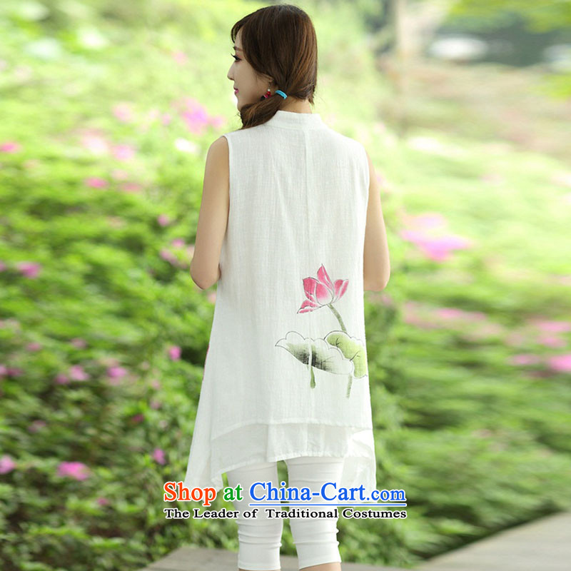 The 2015 summer Yui, in accordance with new's ethnic women's dresses hand-painted cotton collar improved qipao Kit 8123 Lotus kit are code, Yui, , , , shopping on the Internet