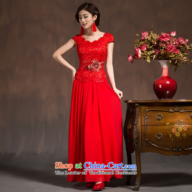 However Service Bridal Fashion Winter 2015 Spring New Red qipao gown short skirts marriage) Improved Chinese long red?XL code