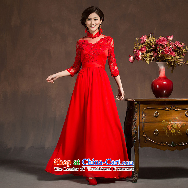 Red married women serving bows dress in spring and summer 2015 new long-sleeved Qipao Length of Sau San dresses female red燣 code