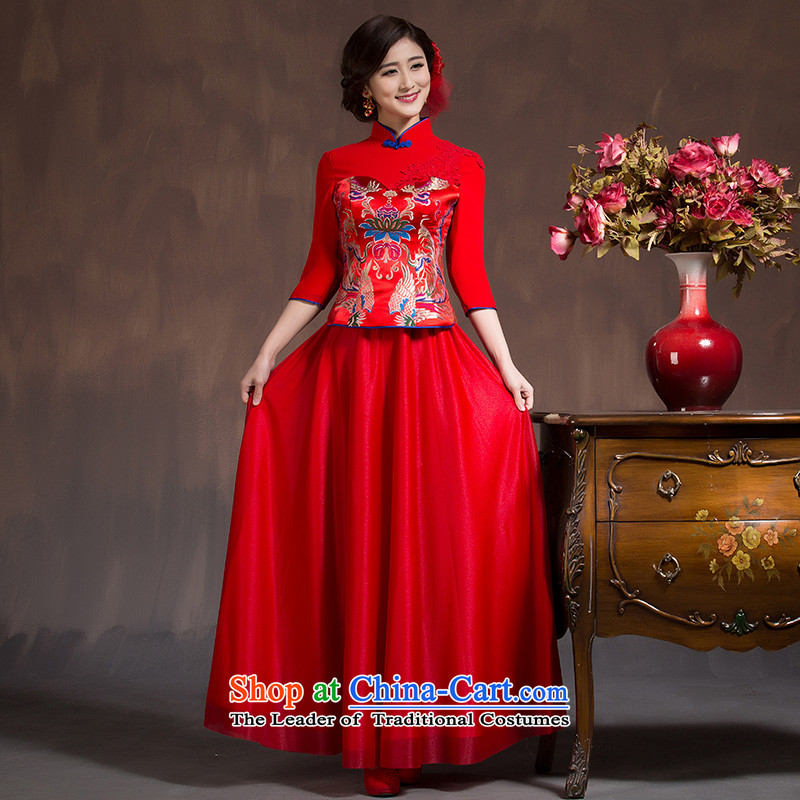 2015 Spring Summer China wind bows Service Bridal wedding dress retro embroidery long cheongsam red female RED?M code