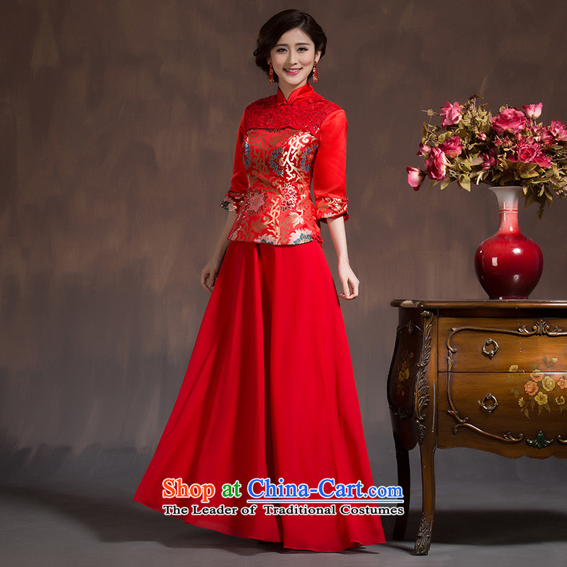 2015 Spring, bridal dresses long-sleeved red retro bows service Chinese Long Sau San Wedding Dress燙ode Red XL