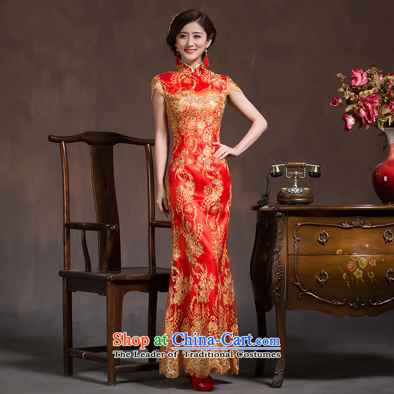 The bride services wedding dresses in spring and autumn bows Chinese Antique bride wedding dress red Sau San crowsfoot long summer RED M code