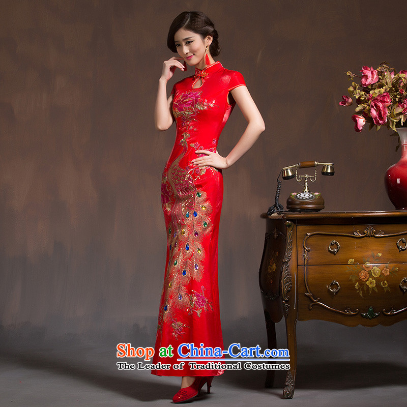 Marriages qipao new 2015 wedding dresses red long bows to the skirt of nostalgia for the improvement of spring red�S code