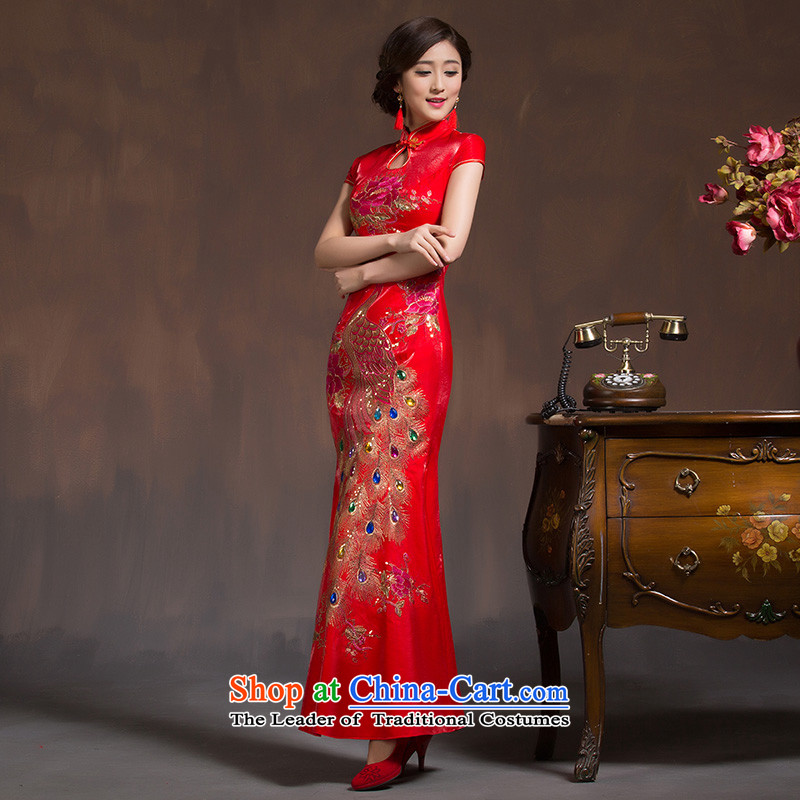 Marriages qipao new 2015 wedding dresses red long bows to the skirt of nostalgia for the improvement of the spring, the Hyatt Regency Red S the married arts , , , shopping on the Internet
