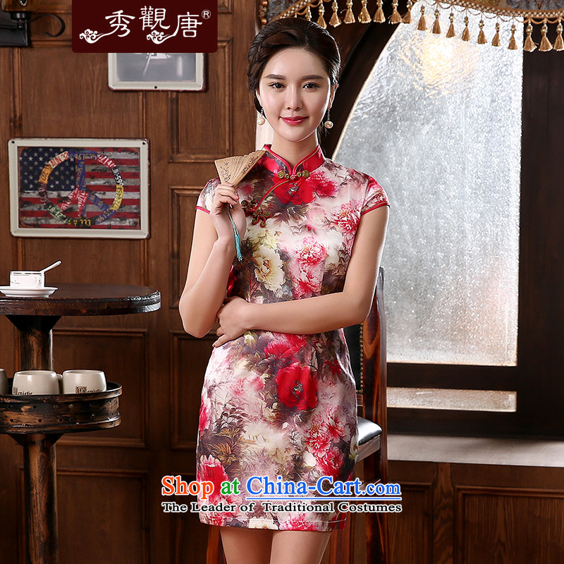 -Sau Kwun Tong- visit to Summer 2015 Spring Silk Cheongsam herbs extract retro style cheongsam dress QD4245 improved suit聽XXL