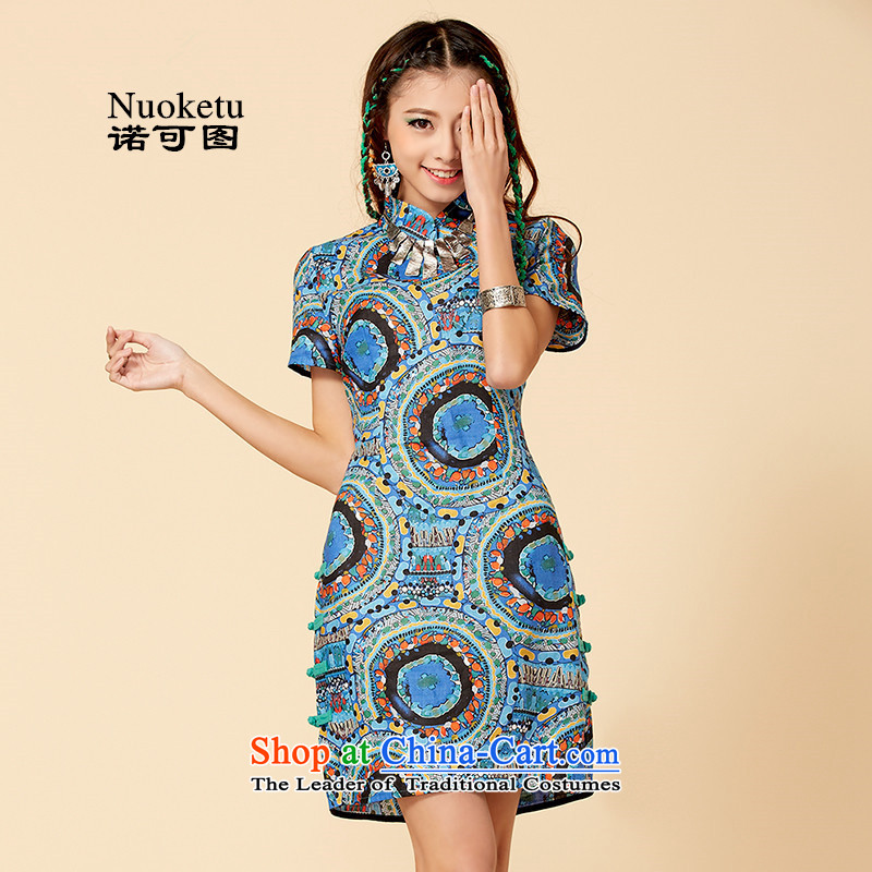 The retro improvement can spring ethnic cheongsam dress female decorated seen wearing short stylish blue qipao?L