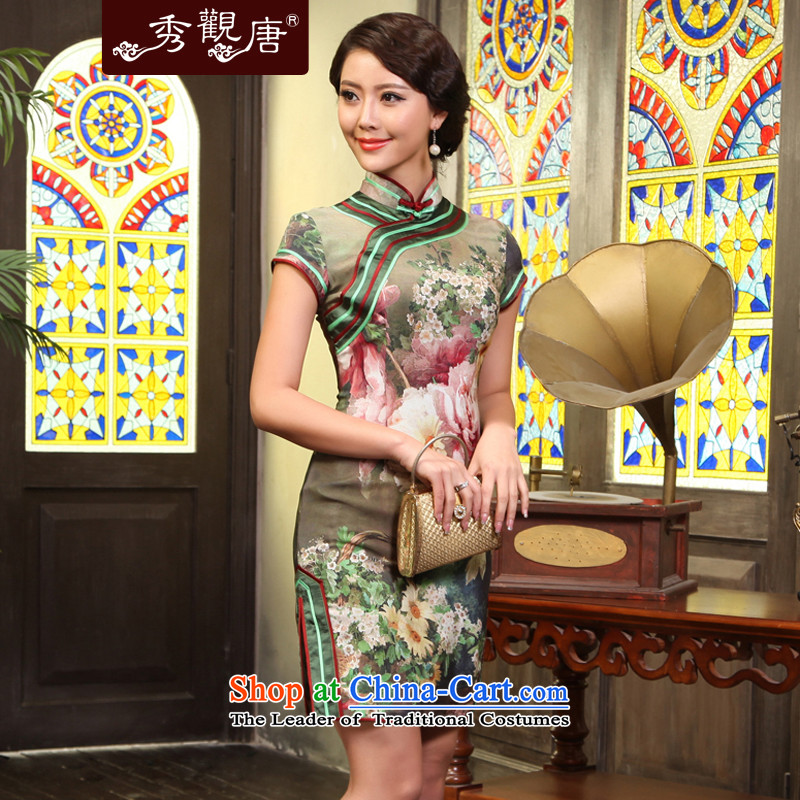 -Sau Kwun Tong- floral classical videos heavyweight Silk Cheongsam_spring herbs extract women cheongsam dress G13512 picture color?M
