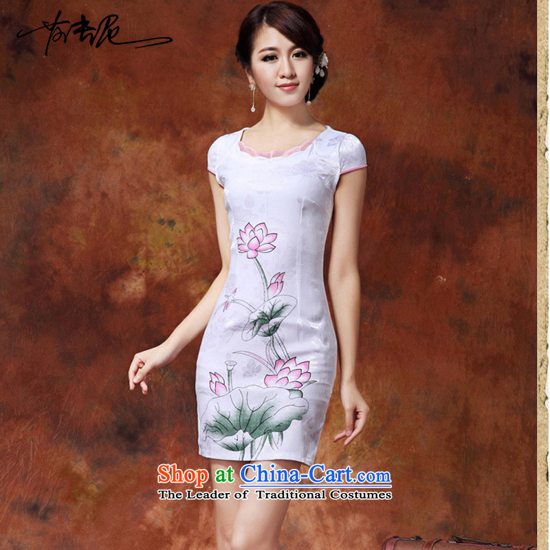 Replace the spring and summer stylish qipao 2015 New Chinese daily short of lotus figure improved cheongsam dress temperament female�36�White�M