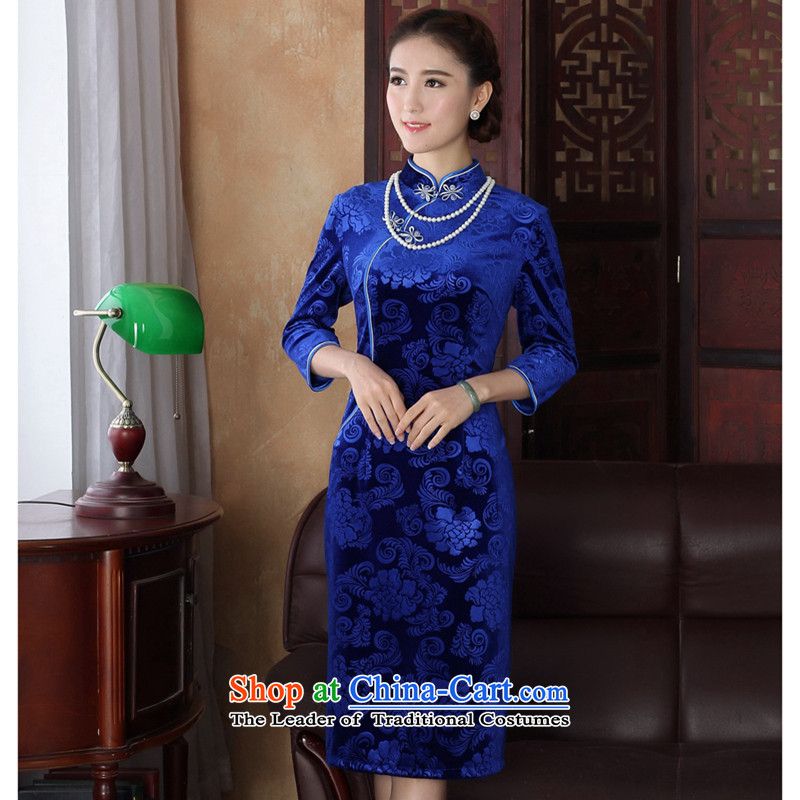 Figure autumn flowers replacing Tang dynasty cheongsam dress Chinese improved collar Stretch Wool embossing 7 cuff, long blue qipao gown?L
