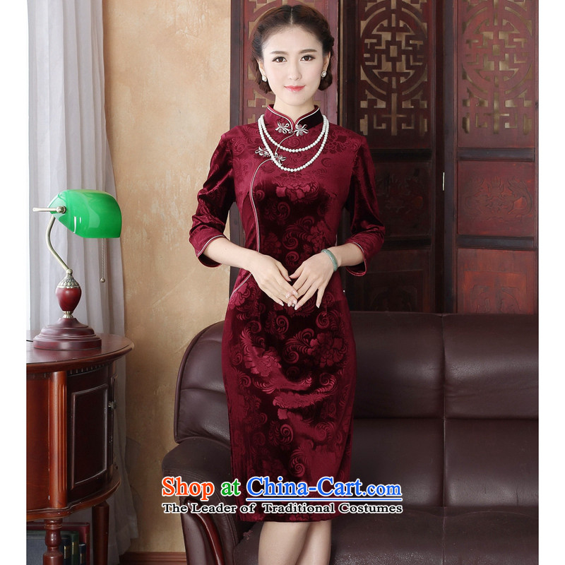 Dan smoke spring cheongsam dress Tang Dynasty Chinese improved collar Stretch Wool embossing 7 cuff in long red dress qipao?M