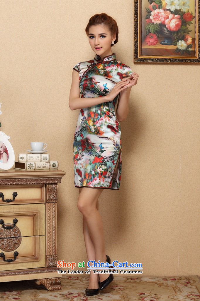 Figure for summer flowers cheongsam new Chinese improved collar retro Silk Cheongsam daily herbs extract elastic qipao figure聽3XL color pictures, prices, brand platters! The elections are supplied in the national character of distribution, so action, buy now enjoy more preferential! As soon as possible.