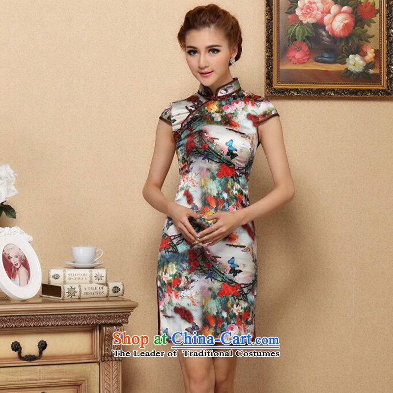 Figure for summer flowers cheongsam new Chinese improved collar retro Silk Cheongsam daily herbs extract elastic qipao figure聽3XL color