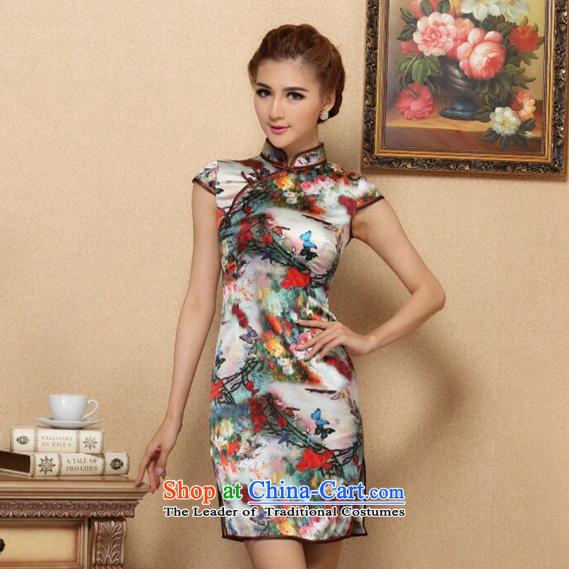 Figure for summer flowers cheongsam new Chinese improved collar retro Silk Cheongsam daily herbs extract elastic qipao figure color聽mosaic 3XL, shopping on the Internet has been pressed.