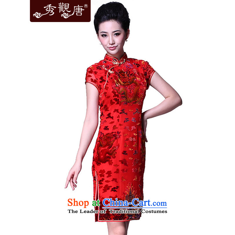 -Sau Kwun Tong- of the dragon Silk Cheongsam _2015 positioning for summer herbs extract red cheongsam dress bride G81125 RED燣