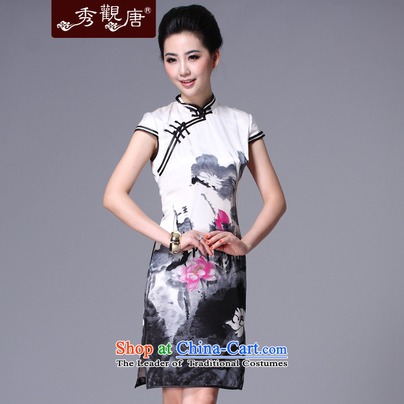 I should be grateful if you would have the Kwun Tong Sau ink爏pring 2015 new improved ink stamp Fashionable dresses silk cheongsam dress retro QD4110 female m White燲XL