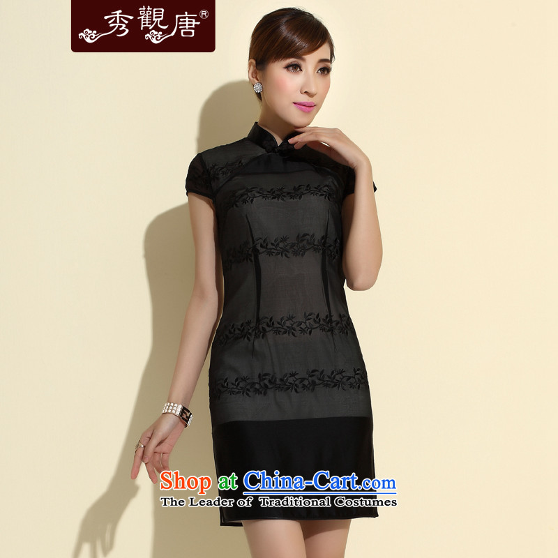 -Sau Kwun Tong- Xuan Emily 2015 Summer new retro heavyweight Silk Cheongsam improved stylish Sau San dresses QD4143 black聽S