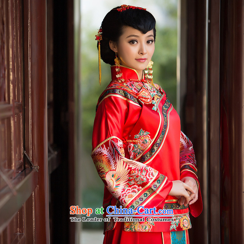 2015 New Sau Wo Service bridal dresses and skirt use bows married to CHINESE CHEONGSAM marriage red red L code