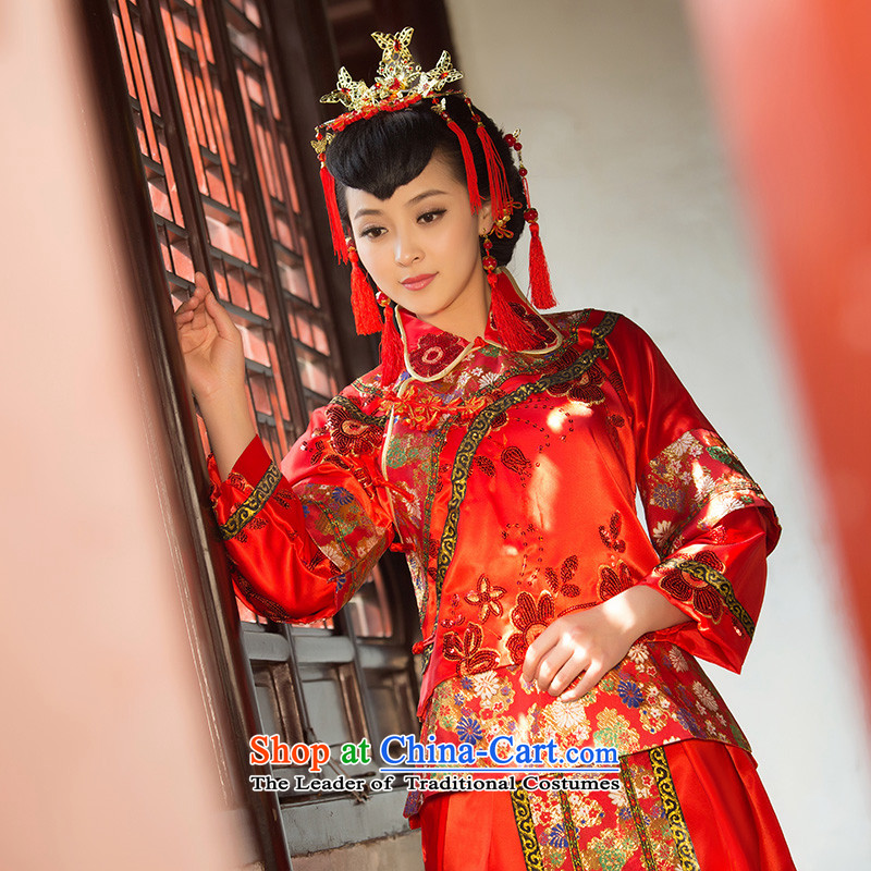 2015 New Sau Wo Service bridal dresses and skirt use bows married to CHINESE CHEONGSAM marriage red red XL code