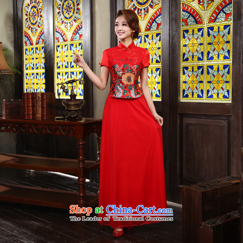 Marriage improved services 2015 new drink red bride retro lace cheongsam RED聽M code