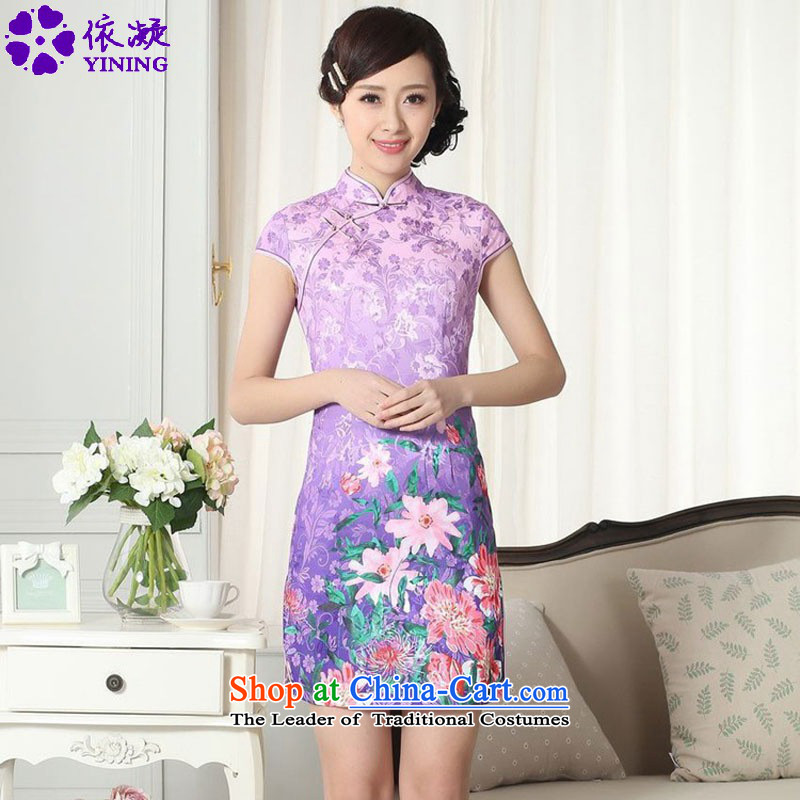 In accordance with the new fuser female Chinese cheongsam dress Tang dynasty gentlewoman stylish cotton jacquard cheongsam dress  Lgd_d0274_ Sau San short figure S