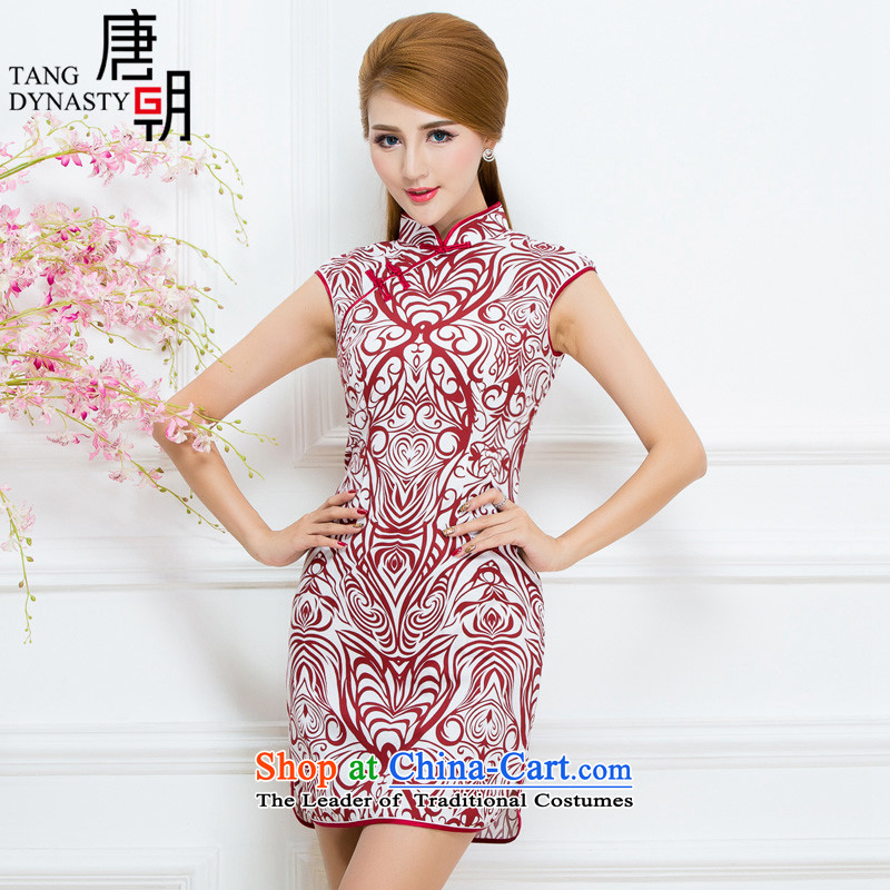 The Tang dynasty�15 Summer new badges need for retro Sau San porcelain sleeveless temperament female cheongsam dress emblazoned with the red stripes燲L